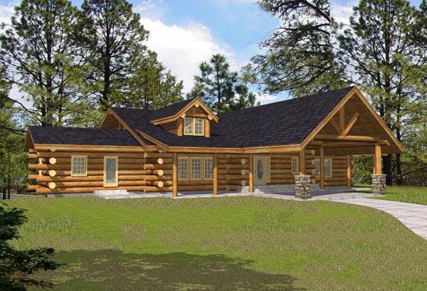 Log House Plan 87051 Elevation