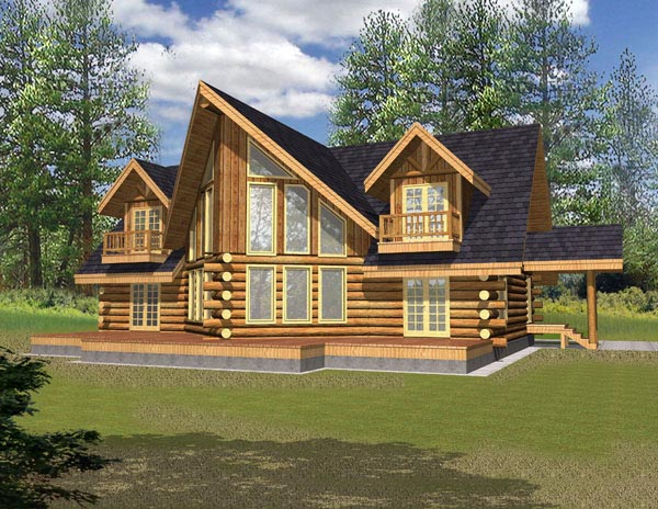 Contemporary , Log House Plan 87052 with 3 Beds, 2.5 Baths Elevation