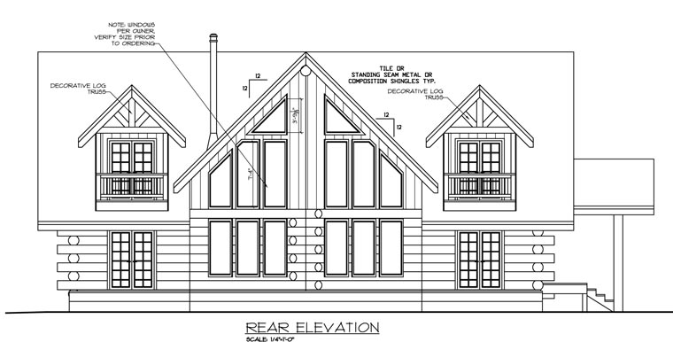 Contemporary Log House Plan 87052 Rear Elevation