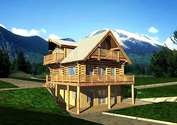 Log, Narrow Lot House Plan 87053 with 3 Beds, 3 Baths Elevation