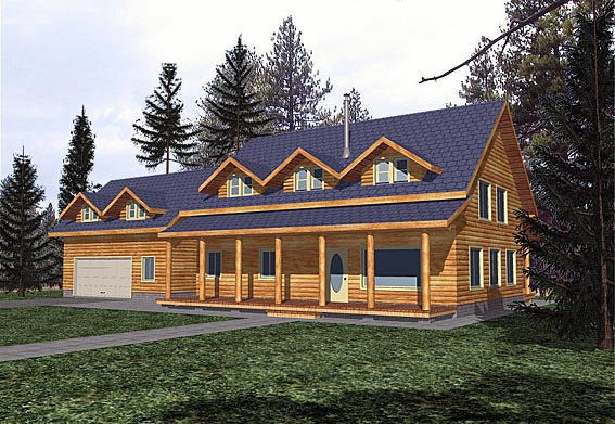 House Plan 87054 | Cabin Country Style Plan with 2032 Sq Ft, 3 Bedrooms, 3 Bathrooms, 2 Car Garage Elevation