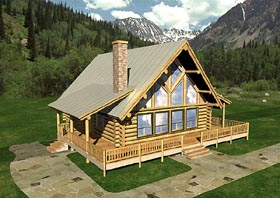 House Plan 87055 | Contemporary Log Style Plan with 2911 Sq Ft, 4 Bedrooms, 2 Bathrooms Elevation