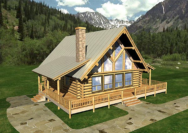 Contemporary Log House Plan 87055 Elevation