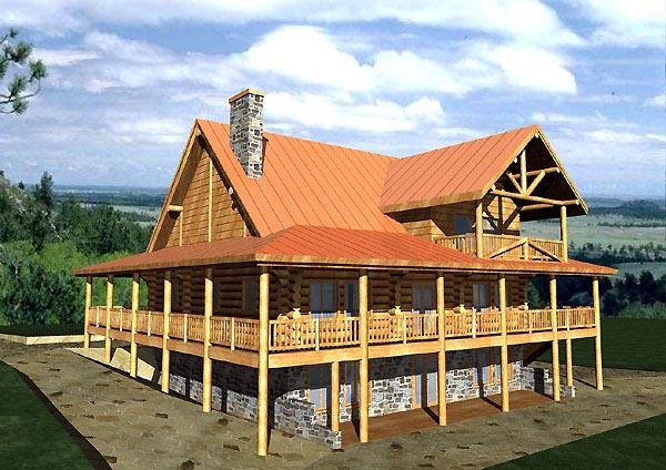 Log House Plan 87056 Elevation