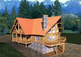 Contemporary Log House Plan 87057 Elevation