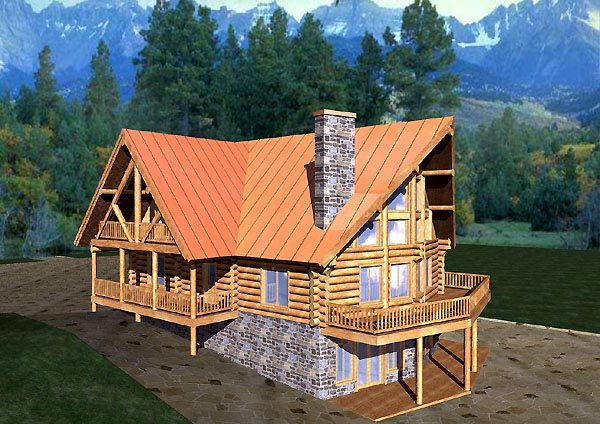 Contemporary Log House Plan 87057 Elevation