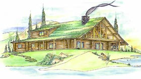 Log House Plan 87059 with 3 Beds, 4 Baths Elevation