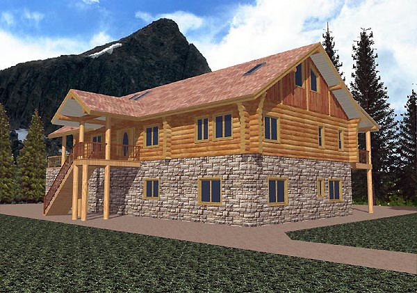 Log House Plan 87061 Elevation