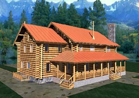 Log House Plan 87062 with 3 Beds, 4 Baths Elevation