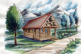 Cabin Log House Plan 87063 Elevation
