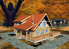 Log House Plan 87064 with 3 Beds, 2 Baths Elevation