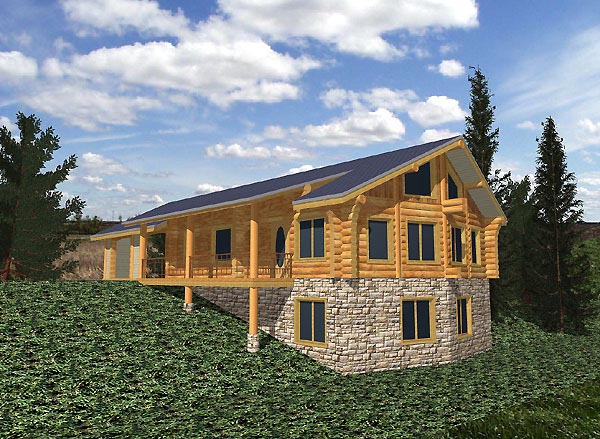 Log House Plan 87065 Elevation