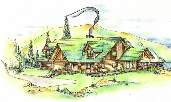 Log House Plan 87066 Elevation
