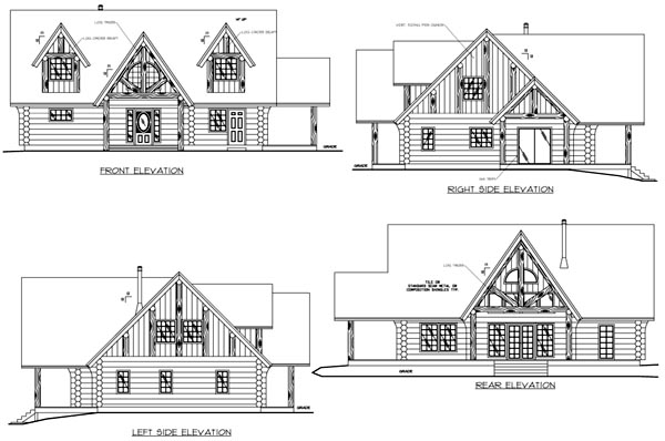Log House Plan 87066 Rear Elevation