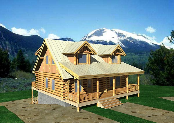 Log House Plan 87068 Elevation