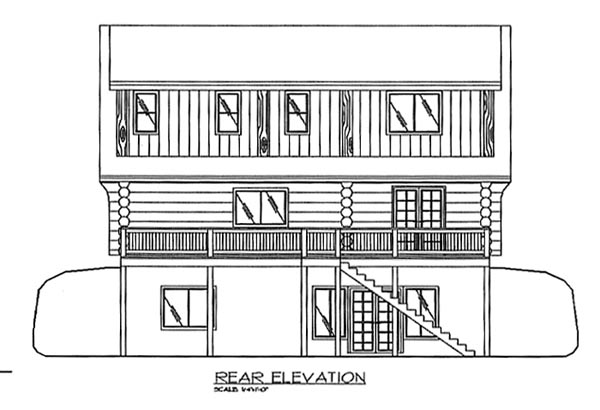 Log Rear Elevation of Plan 87068