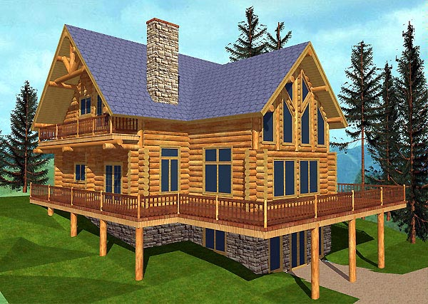 Log House Plan 87069 Elevation