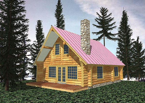 Log House Plan 87070 with 1 Beds, 1 Baths Elevation