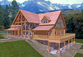Log House Plan 87072 with 5 Beds, 4 Baths, 3 Car Garage Elevation