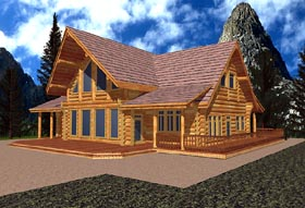 House Plan 87073 | Contemporary Log Style Plan with 2683 Sq Ft, 2 Bedrooms, 3 Bathrooms Elevation
