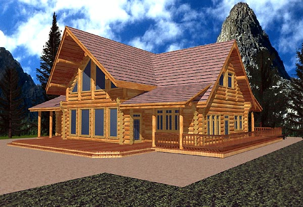 Contemporary Log House Plan 87073 Elevation