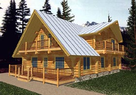 Log House Plan 87074 Elevation