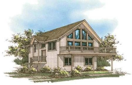 Contemporary Log House Plan 87077 Elevation