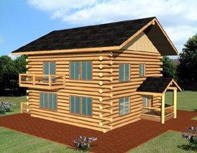 Log House Plan 87082 Elevation