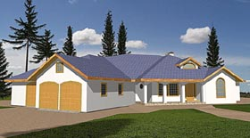 Traditional House Plan 87083 with 2 Beds, 2.5 Baths, 3 Car Garage Elevation