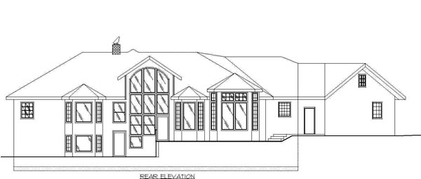 Traditional House Plan 87083 with 2 Beds, 2.5 Baths, 3 Car Garage Rear Elevation
