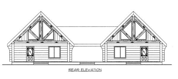 Multi-Family Plan 87085 | Log Style Plan with 1730 Sq Ft, 2 Bedrooms, 2 Bathrooms Rear Elevation