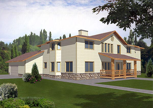 Contemporary , Traditional House Plan 87098 with 4 Beds, 4 Baths, 2 Car Garage Elevation