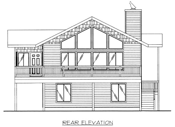 Contemporary Craftsman House Plan 87103 Rear Elevation