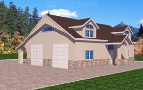 4 Car Garage Plan 87106, 1 Baths Elevation