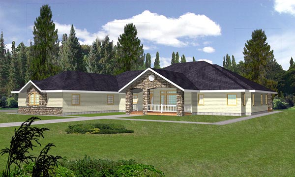 Log Traditional House Plan 87109 Elevation