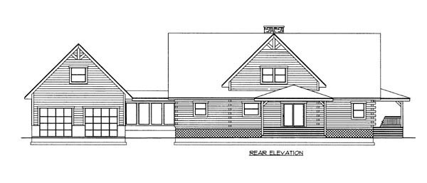 Log House Plan 87111 with 3 Beds, 3 Baths, 1 Car Garage Rear Elevation