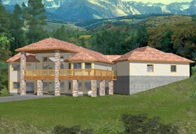 House Plan 87112 | Southwest Traditional Style Plan with 4122 Sq Ft, 3 Bedrooms, 2.5 Bathrooms, 3 Car Garage Elevation