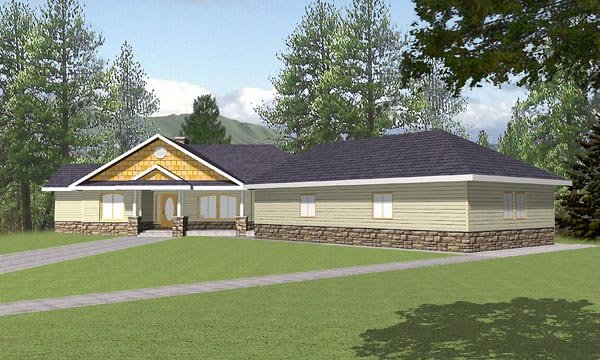 Ranch , Craftsman House Plan 87114 with 3 Beds, 4.5 Baths, 3 Car Garage Elevation