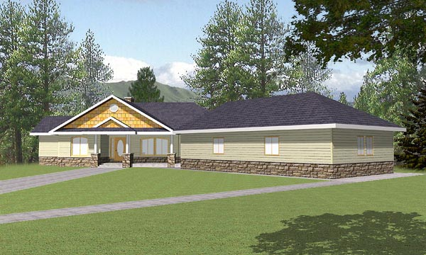 Craftsman, One-Story, Ranch House Plan 87114 with 3 Beds, 4.5 Baths, 3 Car Garage Elevation