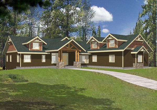 Traditional House Plan 87122 with 5 Beds, 3.5 Baths, 3 Car Garage Elevation