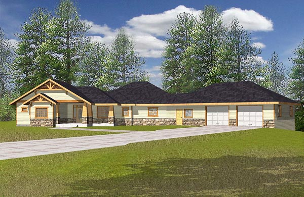 Contemporary Ranch Elevation of Plan 87123