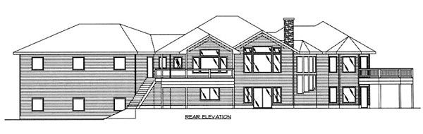 Contemporary, One-Story, Ranch House Plan 87123 with 5 Beds, 3.5 Baths, 2 Car Garage Rear Elevation