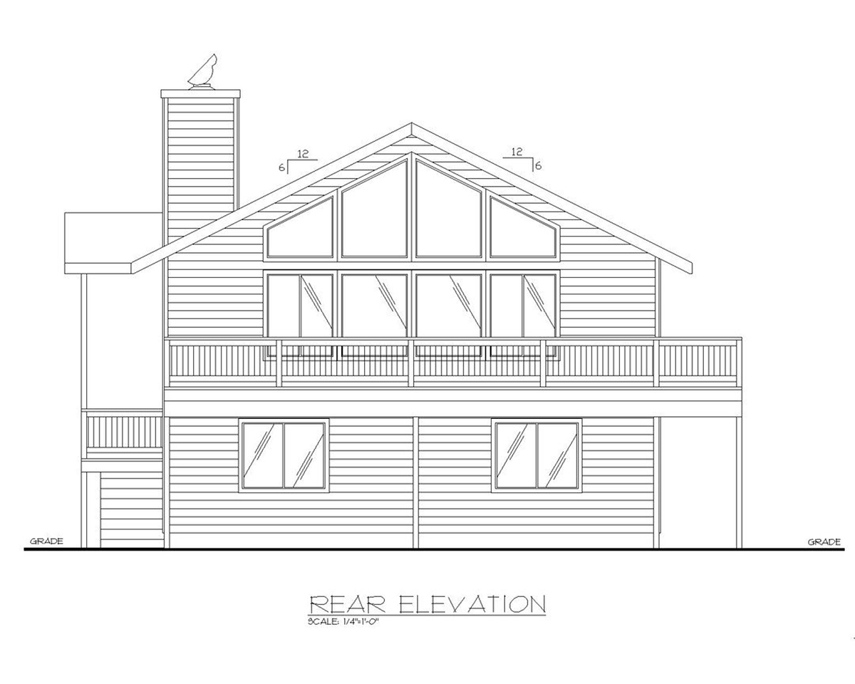 One-Story, Ranch House Plan 87124 with 3 Beds, 2.5 Baths, 2 Car Garage Rear Elevation