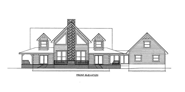 Country , Log , Ranch House Plan 87125 with 3 Beds, 3 Baths, 1 Car Garage Elevation