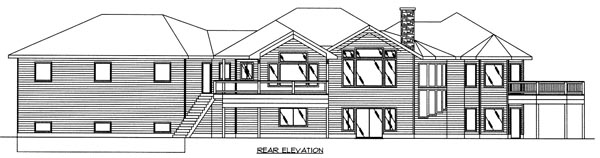 Contemporary Traditional Rear Elevation of Plan 87126