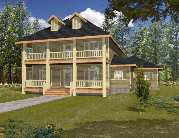 Country House Plan 87128 with 2 Beds, 2 Baths, 3 Car Garage Elevation