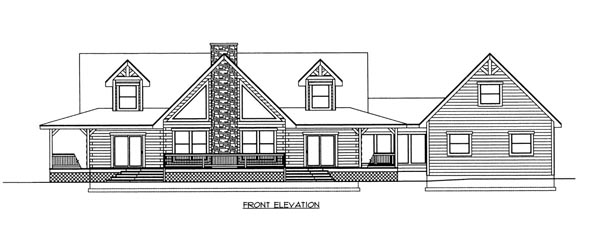 Log House Plan 87140 Elevation