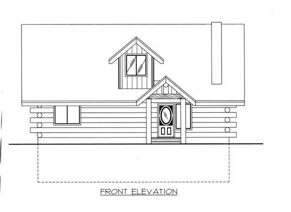 Log House Plan 87142 Elevation