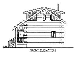 Log House Plan 87143 Elevation