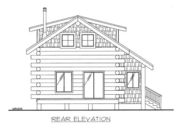 Log House Plan 87143 Rear Elevation